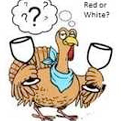 Turkey asking Red or White Wine cartoon