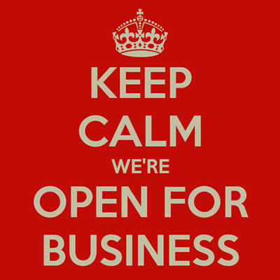 Keep Calm we're open for business