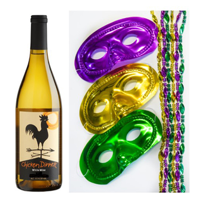 Chicken Dinner White wine bottle and Mardi Gras masks and beads