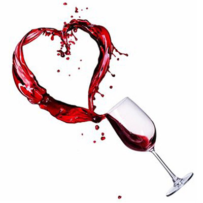 heart made of spilling wine