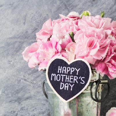 Pot of flowers with Happy Mother's Day sign