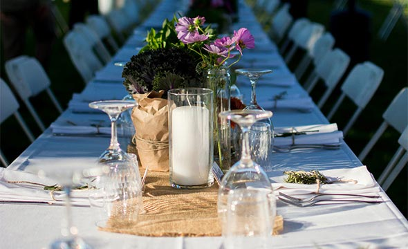 Spring Farm-to-Fork event table set up