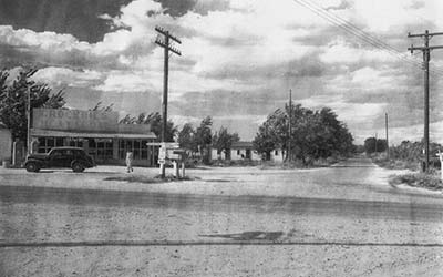 Historic image of Huston, Idaho intersection