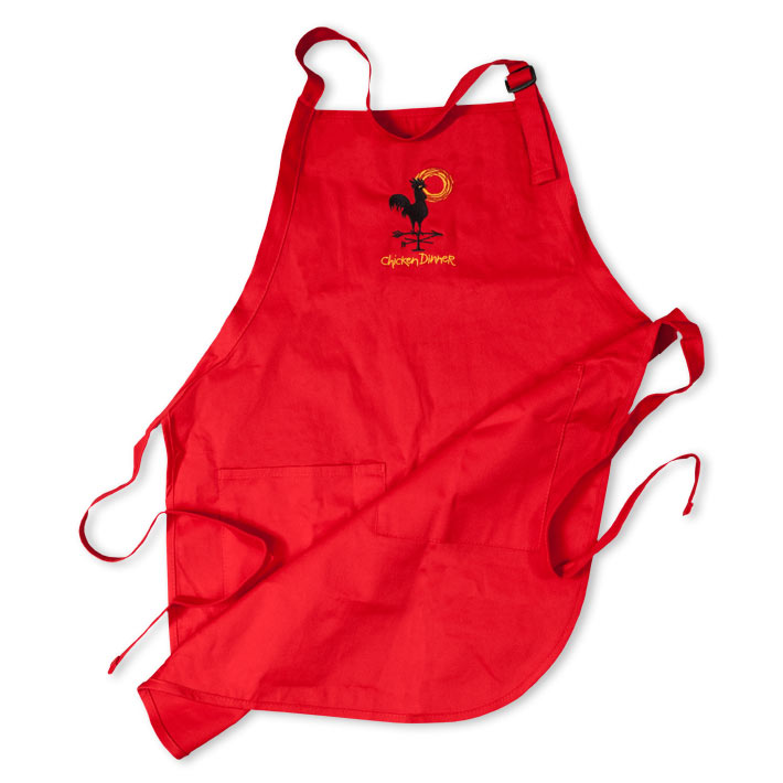 Chicken Dinner Wear Red Embroidered Apron