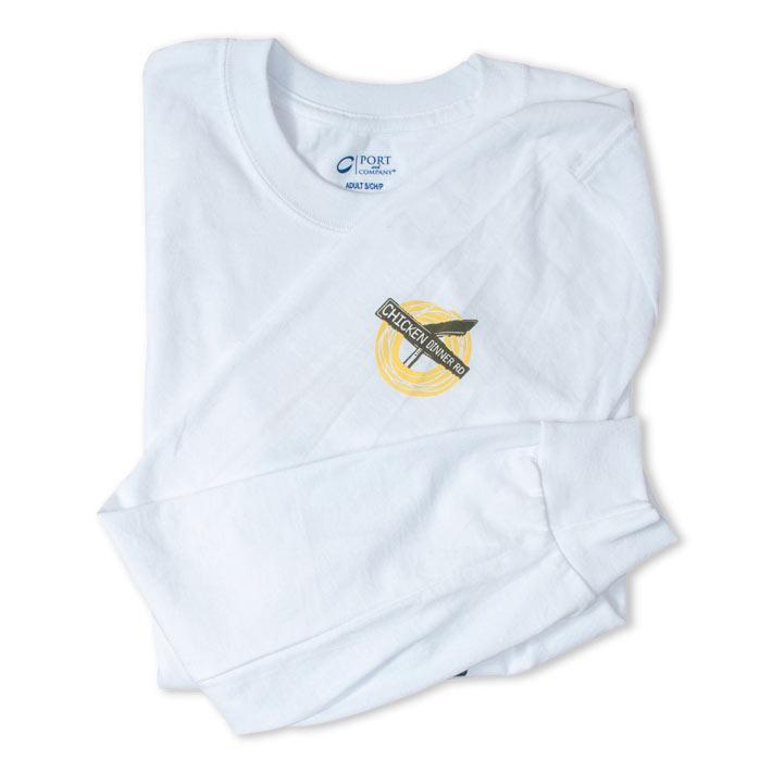 Chicken Dinner Wear Long Sleeve White Cotton Shirt- Sleeve Graphic