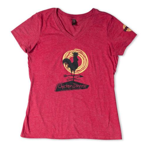 Chicken Dinner Womens Red T-Shirt